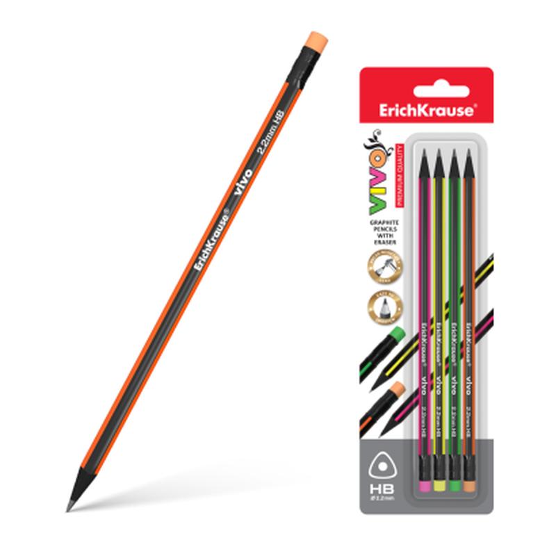 Чернографитный трехгранный карандаш с ластиком  ErichKrause® VIVO® HB (в блистере по 4 шт.) 45624