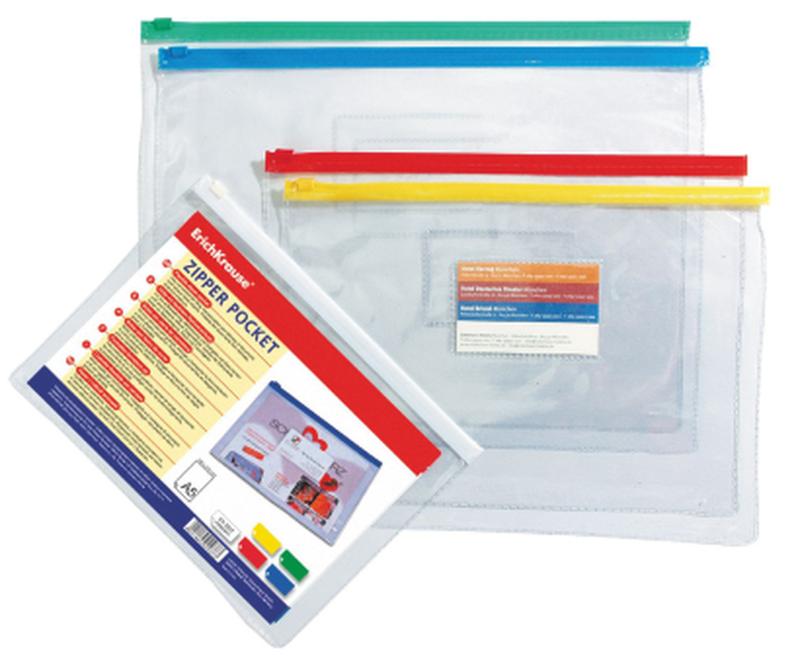 ZIP-пакет пластиковый ErichKrause® PVC Zip Pocket, B6 200*148*0,14, прозрачный 4564