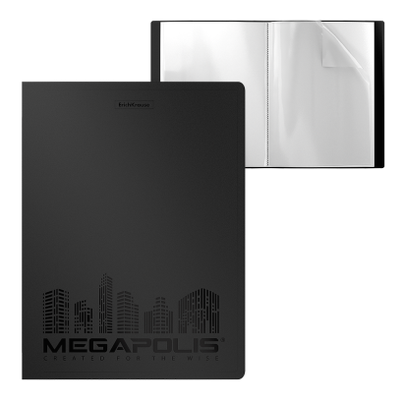 Папка файловая пластиковая ErichKrause® MEGAPOLIS, c 40 карманами, A4, черный 45990