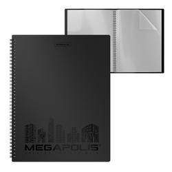 Папка файловая пластиковая на спирали ErichKrause®  MEGAPOLIS, c 20 карманами, A4, черный 45994, 50512