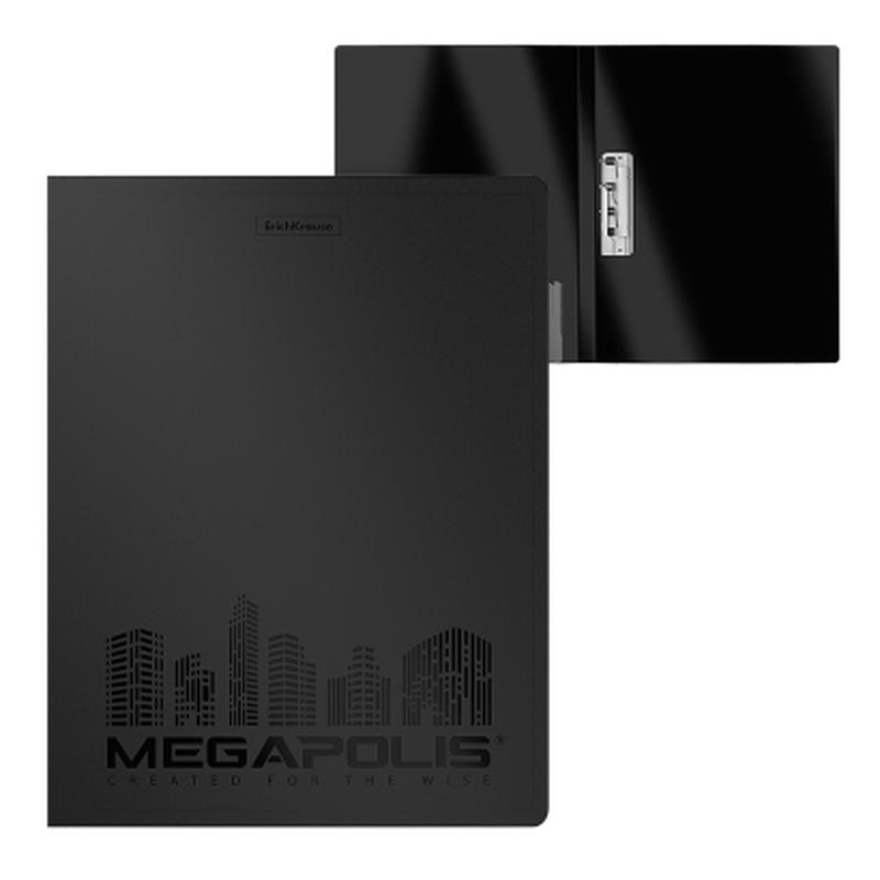 Папка с боковым зажимом пластиковая ErichKrause® Megapolis®, A4, черный 46010