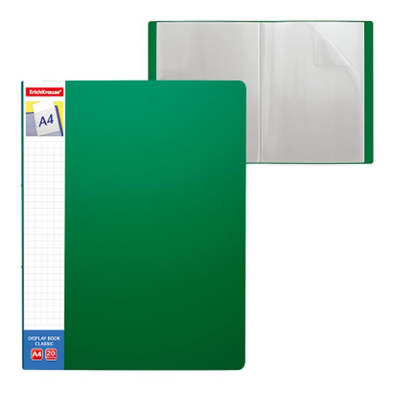 Папка файловая пластиковая ErichKrause® Classic Plus, c 20 карманами и карманом на корешке, A4, зеленый 46073