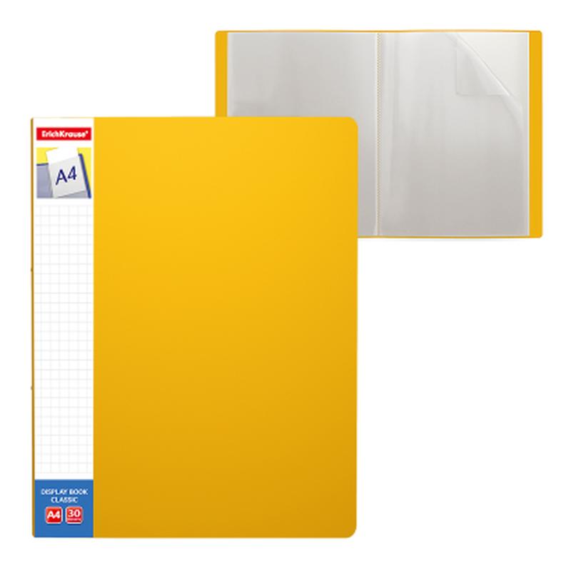 Папка файловая пластиковая ErichKrause® Classic Plus, c 30 карманами и карманом на корешке, A4, желтый 46081
