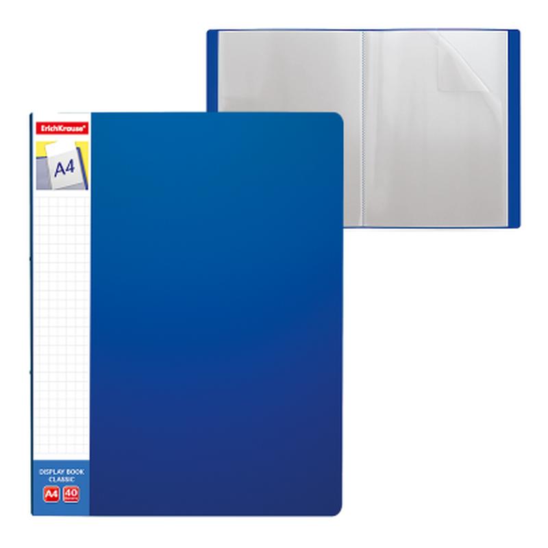 Папка файловая пластиковая ErichKrause® Classic Plus, c 40 карманами и карманом на корешке, A4, синий 46085