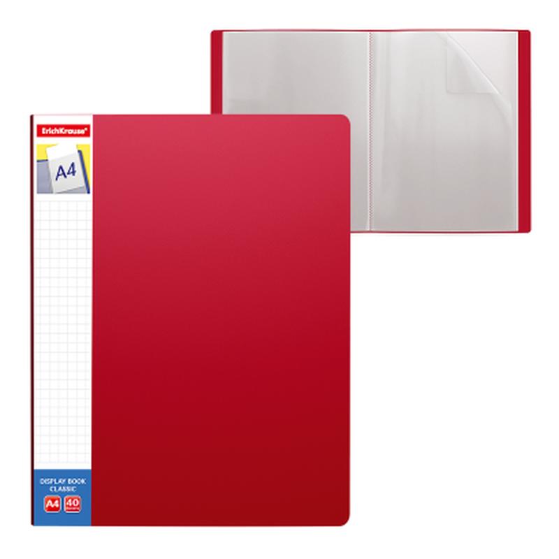 Папка файловая пластиковая ErichKrause® Classic Plus, c 40 карманами и карманом на корешке, A4, красный 46088