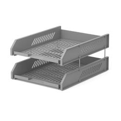 Набор из 2 пластиковых лотков для бумаг на металлических стержнях ErichKrause® Classic, серый 4613