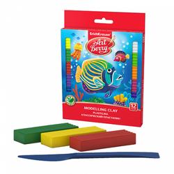 Классический пластилин ArtBerry® с Алоэ Вера 12 цветов со стеком, 216г (картон с европодвесом) 46159