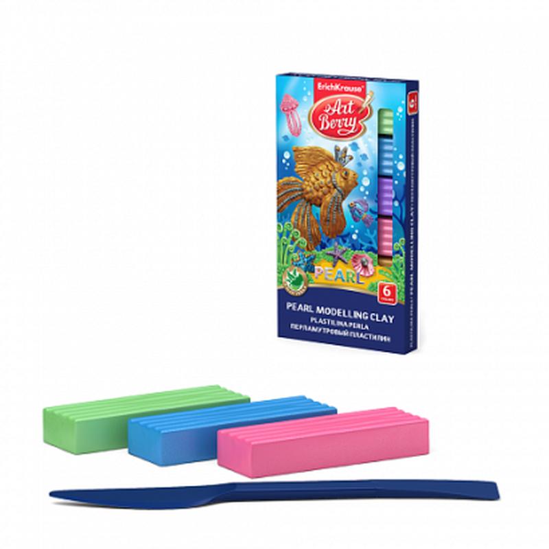 Классический пластилин ArtBerry® с Алоэ Вера Pearl 6 цветов со стеком, 90г 46449