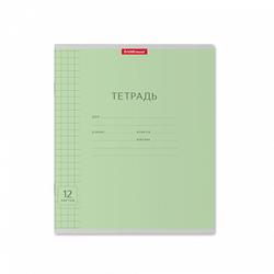 Тетрадь 12 листов в крупную клетку ErichKrause® зеленый (в плёнке по 10 шт.) 46466