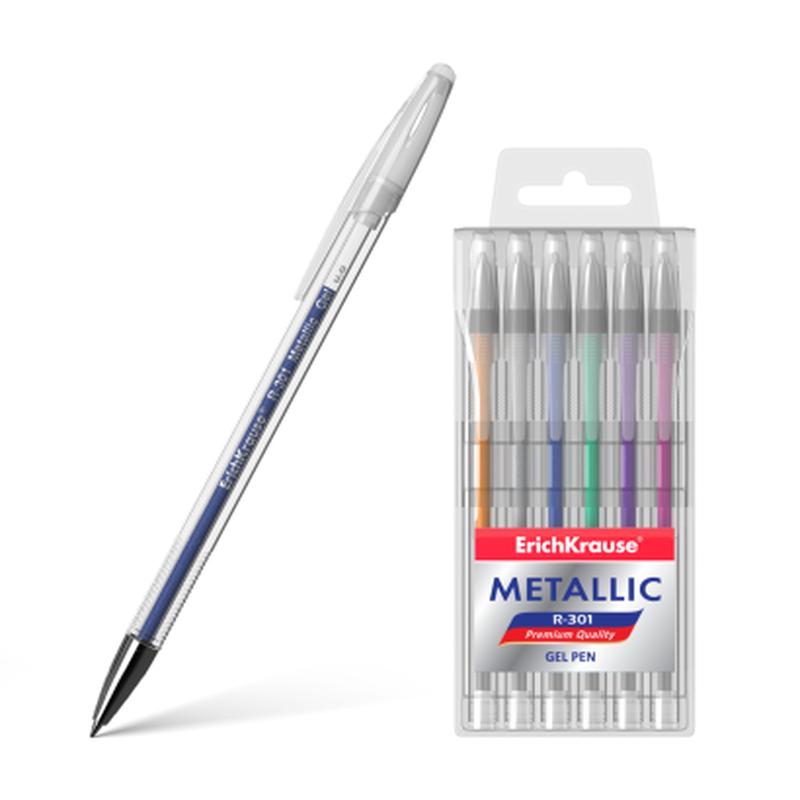 Ручка гелевая ErichKrause® R-301 Metallic (в футляре по 6 шт.) 46525
