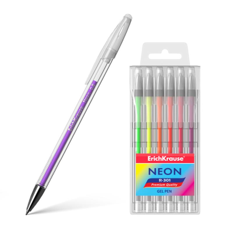 Ручка гелевая ErichKrause® R-301 Neon (в футляре по 6 шт.) 46527