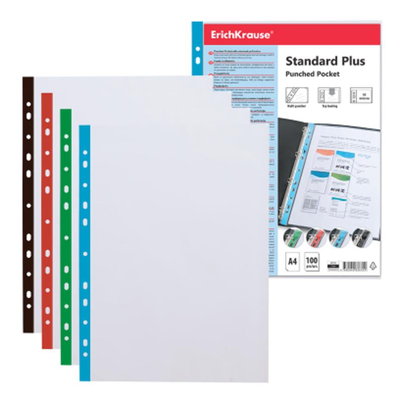 Набор перфофайлов пластиковых ErichKrause® Fizzy Clear, 40 мкм, A4, прозрачный, с цветной полосой (в пакете по 100 шт.) 46705
