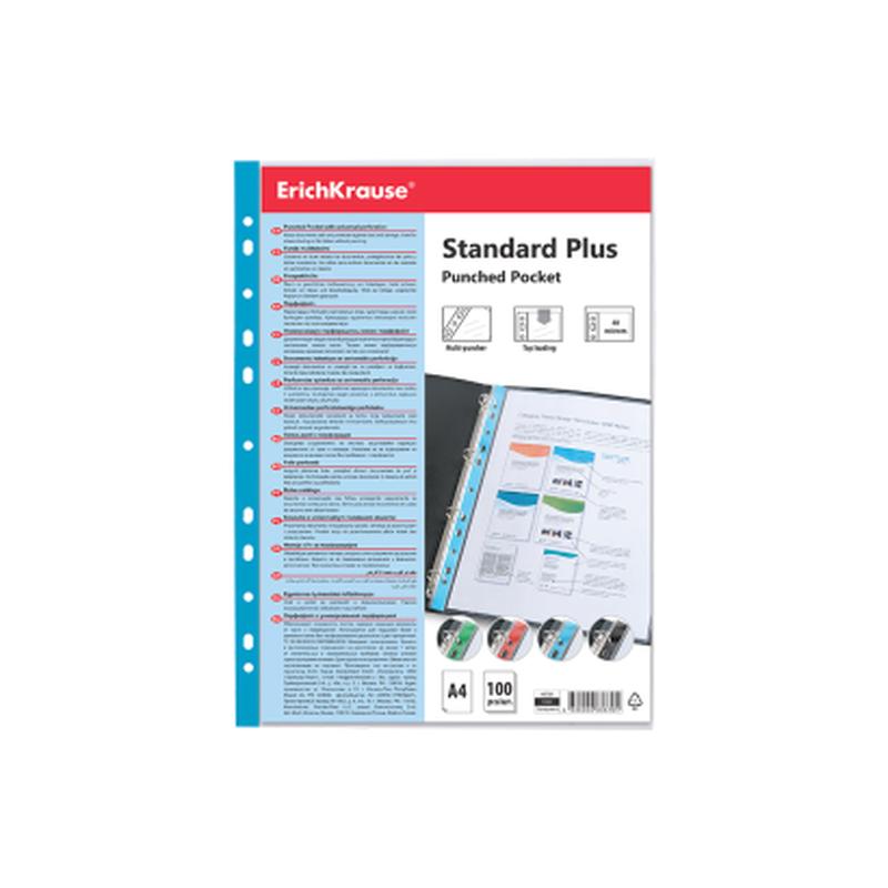 Набор перфофайлов пластиковых ErichKrause® Fizzy Clear, 40 мкм, A4, прозрачный, с синей полосой (в пакете по 10 шт.) 46706