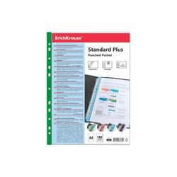 Набор перфофайлов пластиковых ErichKrause® Fizzy Clear, 40 мкм, A4, прозрачный, с зеленой полосой (в пакете по 10 шт.) 46708