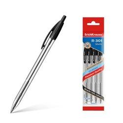 Ручка шариковая автоматическая ErichKrause® R-301 Classic Matic 1.0, цвет чернил черный (в пакете по 4 шт.) 46757