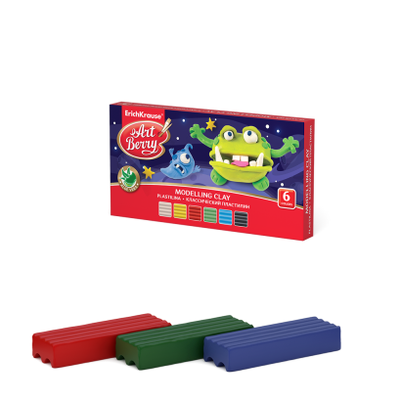 Классический пластилин ArtBerry® с Алоэ Вера 6 цветов, 90г (коробка) 46779