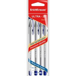 Ручка шариковая ErichKrause® ULTRA-20, цвет чернил синий (в пакете по 4 шт.) 46782