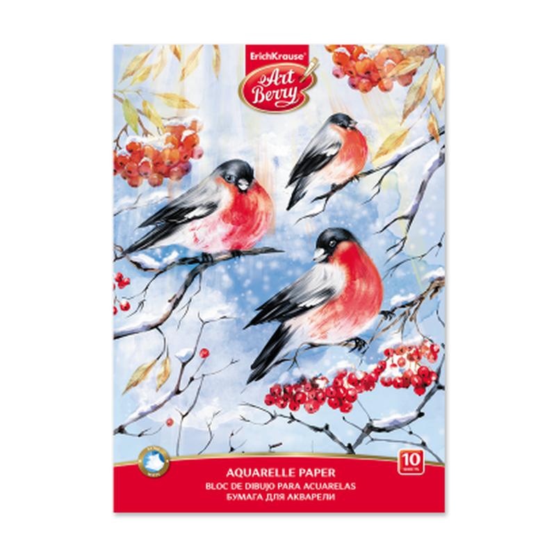 Альбом для рисования с бумагой для акварели на клею ArtBerry® Снегири А4, 10 листов 46894