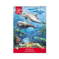 Альбом для рисования на спирали ArtBerry® Дельфин, А4, 20 листов, микроперфорация, спираль по узкой стороне  46896