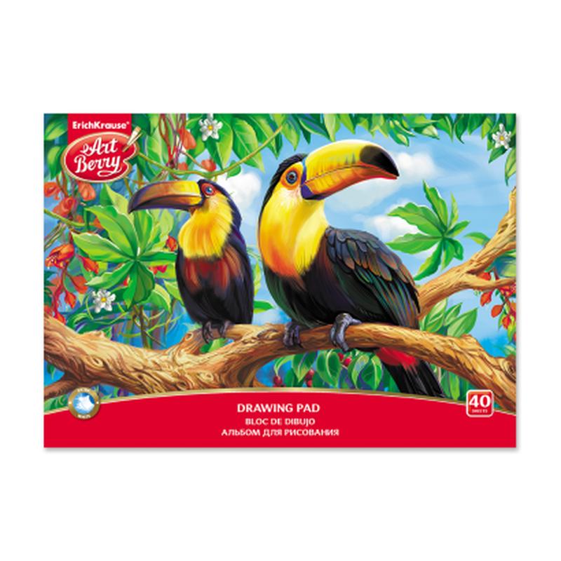 Альбом для рисования на клею ArtBerry® Экзотические птицы, А4, 40 листов 46917