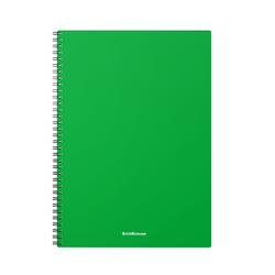 Тетрадь общая с пластиковой обложкой на спирали ErichKrause® Classic, зеленый, А4, 60 листов, клетка 46940