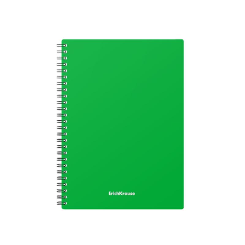 Тетрадь общая с пластиковой обложкой на спирали ErichKrause® Classic, зеленый, А5, 60 листов, клетка 46944