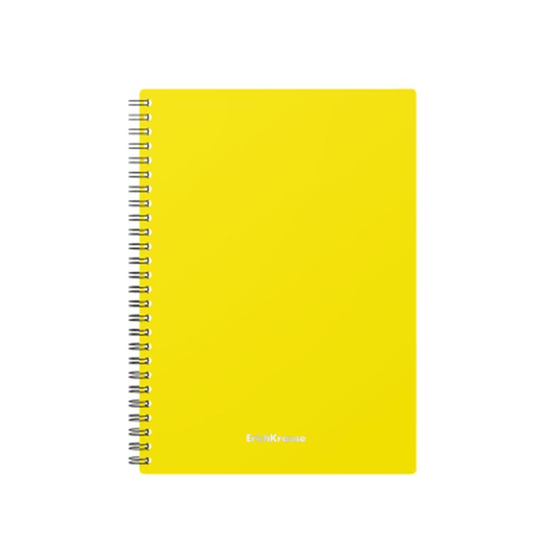 Тетрадь общая с пластиковой обложкой на спирали ErichKrause® Classic, желтый, А5, 60 листов, клетка 46945