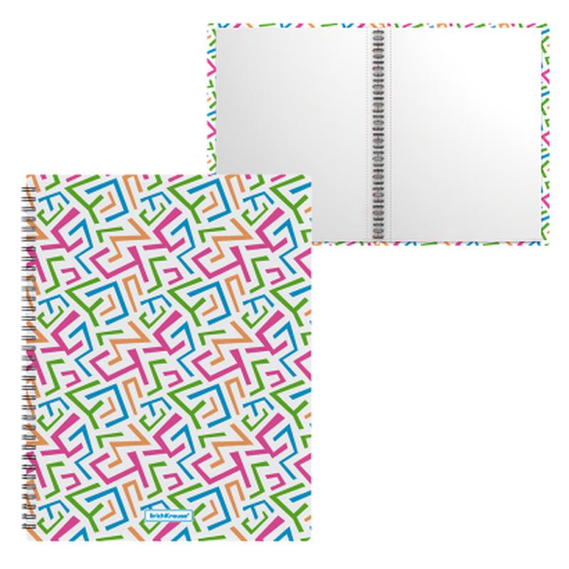 Папка файловая пластиковая на спирали ErichKrause® Lines, с 20 прозрачными карманами, A4 46997