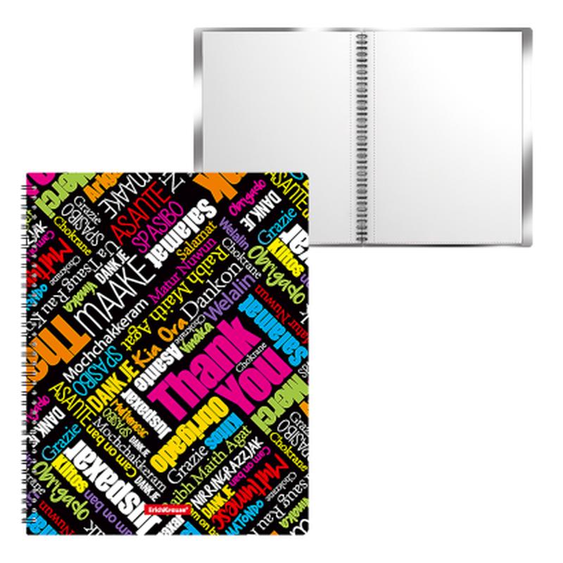Папка файловая пластиковая на спирали ErichKrause®  Thank you!, c 20 карманами, A4 47002