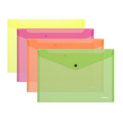 Папка-конверт на кнопке пластиковая  ErichKrause® Fizzy Neon, полупрозрачная, A4, ассорти 47044
