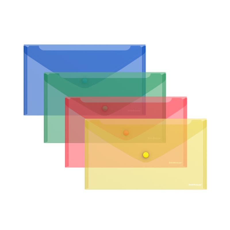 Папка-конверт на кнопке пластиковая  ErichKrause® Classic, полупрозрачная, C6, ассорти 47054