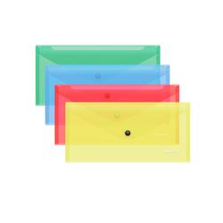 Папка-конверт на кнопке пластиковая  ErichKrause® Classic, полупрозрачная, Travel, ассорти 47055