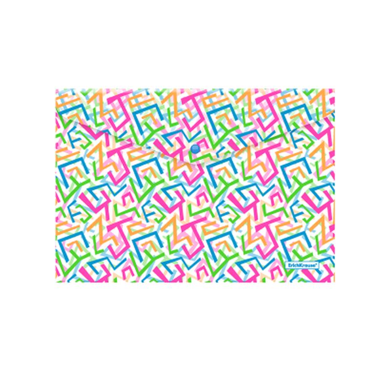 Папка-конверт на кнопке пластиковая  ErichKrause® Lines, A4 45330, 47057