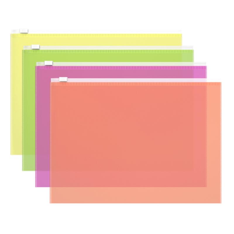 ZIP-пакет пластиковый ErichKrause® Fizzy Neon, A4 335*242*0,14, ассорти 47070