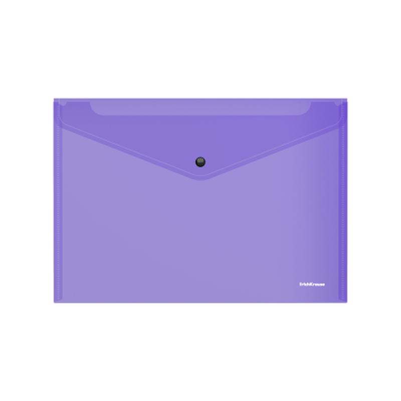 Папка-конверт на кнопке пластиковая  ErichKrause® Glossy Vivid, полупрозрачная, A4, фиолетовый 47117