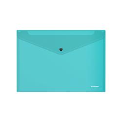 Папка-конверт на кнопке пластиковая  ErichKrause® Glossy Vivid, полупрозрачная, A4, бирюзовый 47118