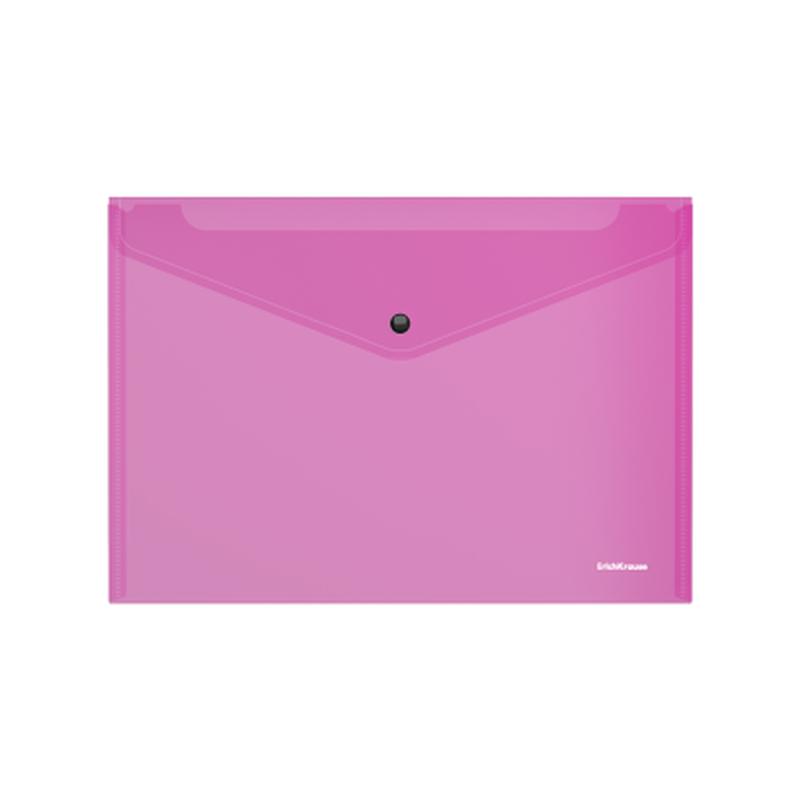Папка-конверт на кнопке пластиковая  ErichKrause® Glossy Vivid, полупрозрачная, A4, розовый 47119
