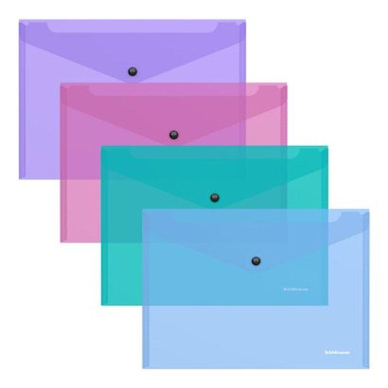 Папка-конверт на кнопке пластиковая  ErichKrause® Glossy Vivid, полупрозрачная, B5, ассорти 47120