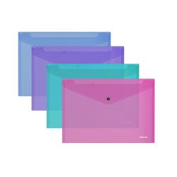 Папка-конверт на кнопке пластиковая  ErichKrause® Glossy Vivid, полупрозрачная, A5+, ассорти 47121