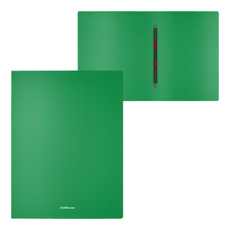 Папка-скоросшиватель пластиковая ErichKrause® Classic, с пружинным механизмом, A4, зеленый 47169