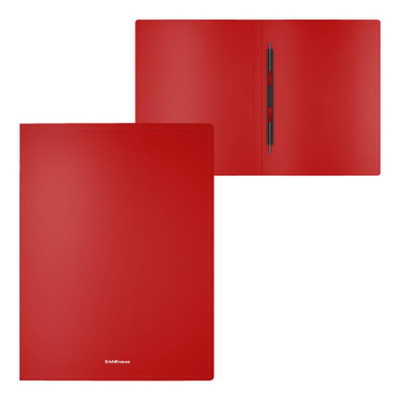 Папка-скоросшиватель пластиковая ErichKrause® Classic, с пружинным механизмом, A4, красный 47170