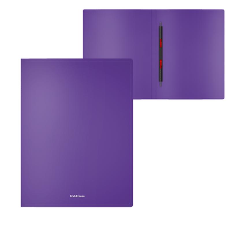 Папка-скоросшиватель пластиковая ErichKrause® Classic, с пружинным механизмом, A4, фиолетовый 47172