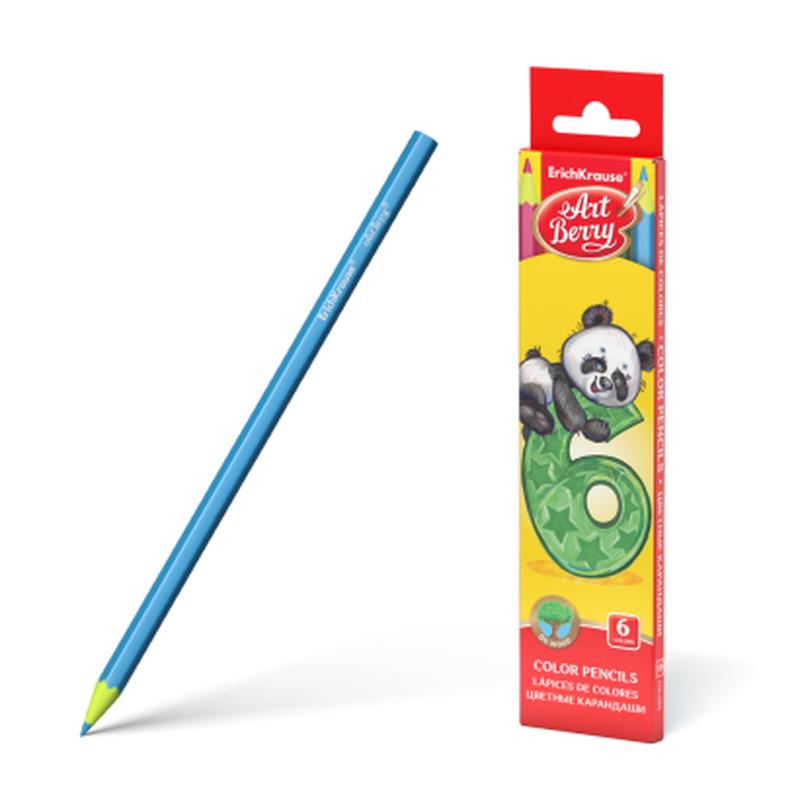 Пластиковые цветные карандаши шестигранные ArtBerry® 6 цветов 47176