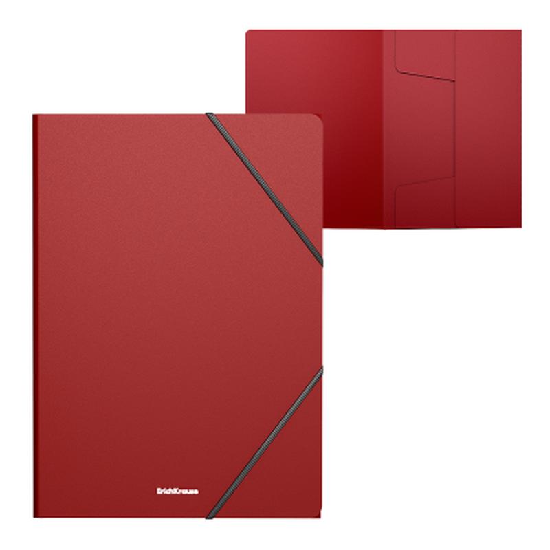 Папка на резинках пластиковая  ErichKrause® Matt Classic, A4, красный 47192