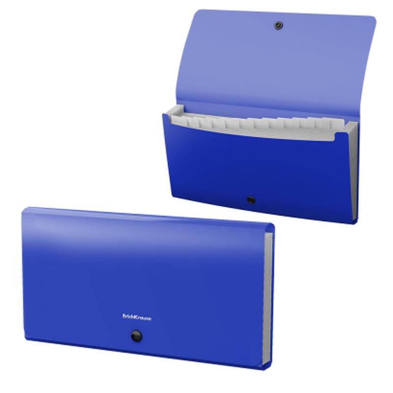 Папка-картотека пластиковая  ErichKrause® Matt Classic, с 12 отделениями, Check size, синий 47237