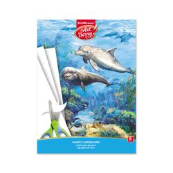 Белый картон мелованный в папке ArtBerry® Дельфин, А4, 8 листов, игрушка-набор для детского творчества 47367