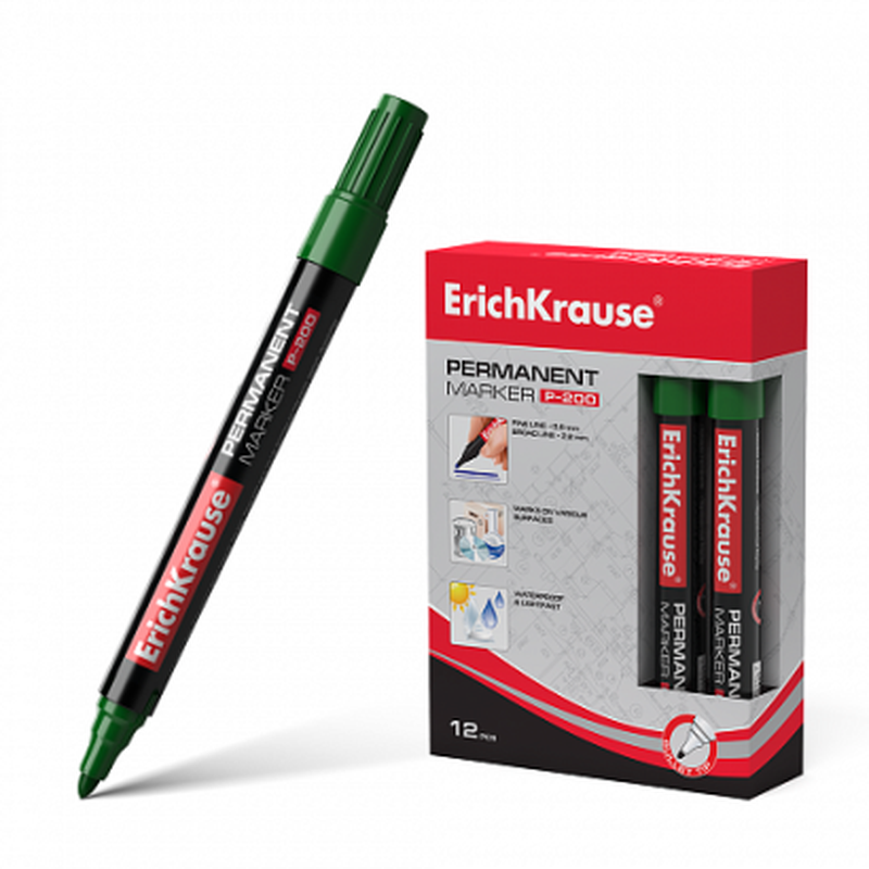 Перманентный маркер ErichKrause®  P-200, цвет чернил зеленый 4780
