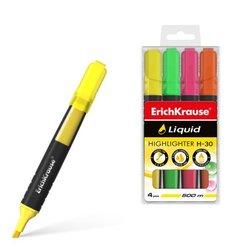 Текстмаркер ErichKrause® Liquid H-30, цвет чернил желтый, зеленый, розовый, оранжевый (в футляре по 4 шт.) 47977