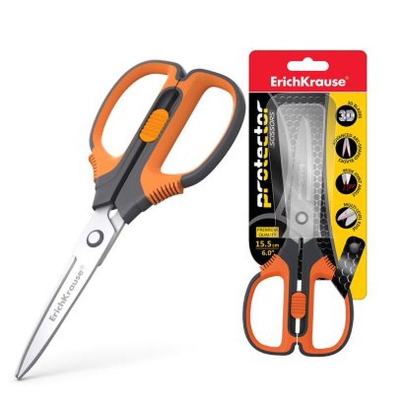 Ножницы ErichKrause® Protector Lock, 15.5см с фиксатором, серо-оранжевый (в блистере 1 шт.) 48055