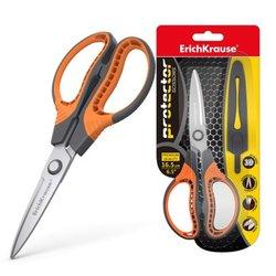 Ножницы ErichKrause® Protector, 16.5см с чехлом, серо-оранжевый (в блистере 1 шт.) 48056